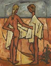 two figures toweling off with beach beyond by desmond carrick