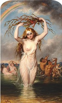 nymphs and mermen playing by william edward frost
