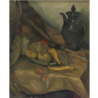 still life with coffee pot and fruit by gustav hilbert