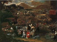 a military encampment on the campus martius before the ponte molle, mount soracte beyond by pieter hofman