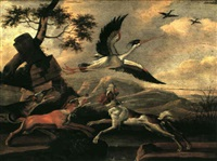 three hounds chasing a stork at the edge of a river beside some ruins by j. maasius
