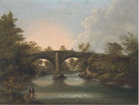 a figure fishing on a river, with a bridge beyond by horace w. billington