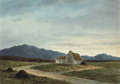 bogroad with cottages (+ river through a valley; pair) by douglas alexander