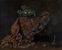 nature morte au tapis iranien et coupe de fruits by french school (17)