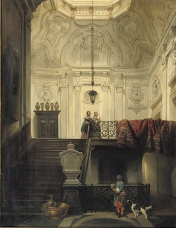 elegant figures in interior of huis schuylenburch, the hague by hubertus van hove