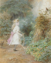 young girl with hoop on a country path; a study of a potted plant (2 works) by walter little