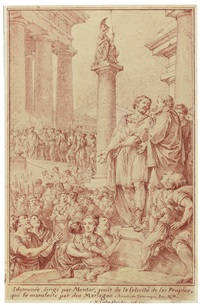 idomeneus, directed by mentor, witnessing the happiness of his subjects in a wedding procession to the temple by charles nicolas cochin the younger