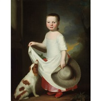 girl with a dog, holding a bonnet, with cherries in her apron by george romney
