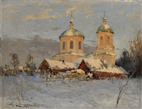 a village church by andrei nikolaevich shilder