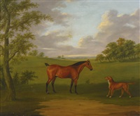 a hunter and a retriever in an extensive wooded landscape by john francis sartorius