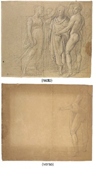 a draped poet crowned by a muse, a nude to the right (+ a nude seen from behind looking to the right, verso) by andrea appiani
