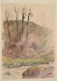 peupliers près de la rivière by henry moret