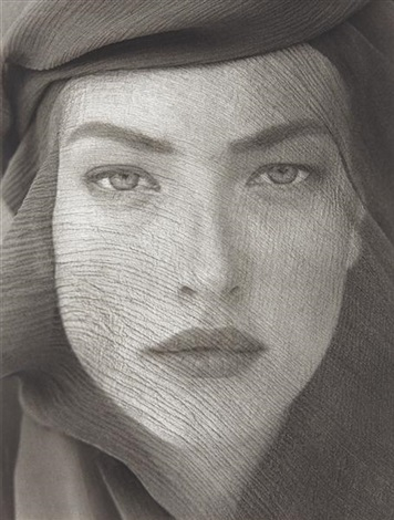 tatjana, veiled head, tight view, joshua tree by herb ritts