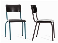 modernist bakelite steel chairs (pair) by rené herbst