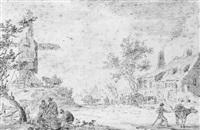 paysage animé avec moulin by cornelis van noorde