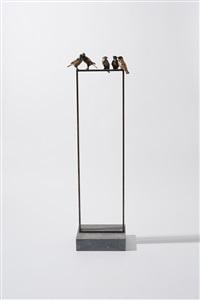 5 sparrows on window by jacqueline van der laan
