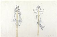 untitled - mermaid and winged woman by kiki smith