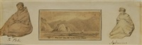 ship cove from the rocks of lone island with depictions of te pahi and nga kawena by george frederick swainson