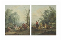before the hunt; after the hunt (pair) by francesco giuseppe casanova