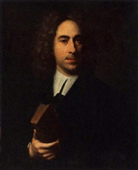 a portrait of a magistrat, aged fifty-two, wearing black costume and holding a book by christoffel lubieniecki