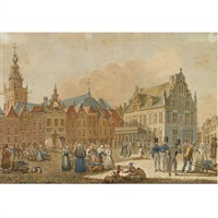 a market scene in nijmegen, the waag and the vleeschhuis beyond by g.j. gelderman