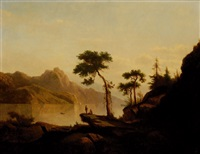 travellers on a cliff in a river landscape by cornelis lieste