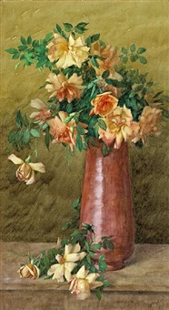a vase of roses by albert r. valentien