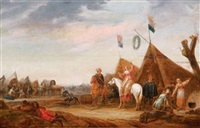 cavalry resting at an encampment by abraham van der hoef