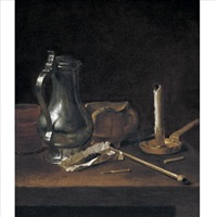 toebackje still life with pewter jug, tobacco, pipe and candle by theodorus (dirk) smits
