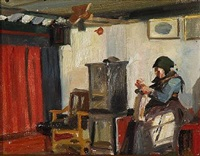 interior with a old woman knitting at the stove by georg nicolaj achen