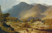 figures and cattle in an extensive mountainous river landscape by william davies