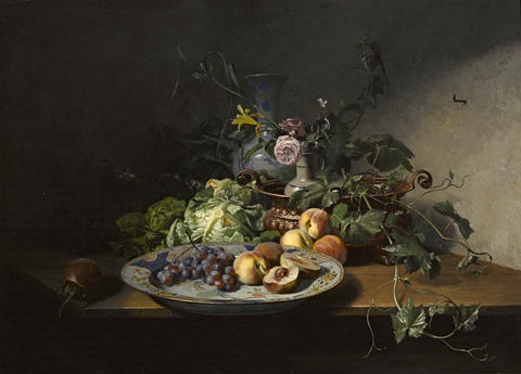 a still life of fruit and vegetables with an imari dish copper bowl and other porcelain by david emile joseph de noter