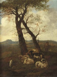 a hilly landscape with a shepherd and his flock by jacob van der does the elder