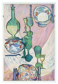 still life of a set dining room table by lillian mackendrick