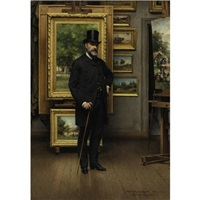 self portrait in a picture gallery by adolphe pierre leleux