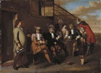 elegant company smoking and drinking outside an inn by gerard hoet the younger