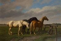 chevaux dans la prairie by paul van der vin
