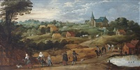 a summer landscape with figures on a sandy path, a village beyond by philips de momper the younger