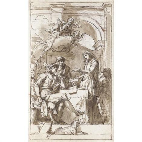 scena dinterno con una dama che si rivolge a due uomini by luigi agricola