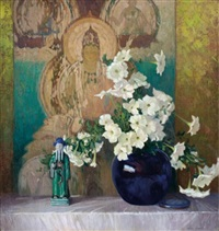 still life with asian figurine and white petunias by frederic m. grant