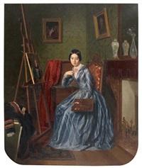 portrait d'une jeune femme peintre dans son atelier by jean alphonse roehn
