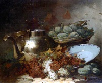 nature morte au cuivre et au plat de fruits by henri adolphe louis laurent