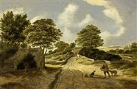 a dune landscape with a sportsman and his dogs on a path near a cottage by nicolaes hals