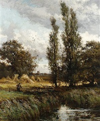 angler by a stream by john horace hooper
