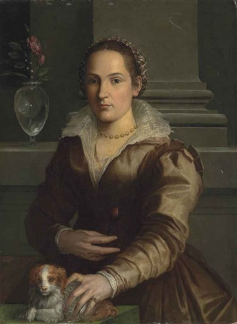 portrait of a lady half length in a rust dress and an elaborate headdress a rose in her right hand with a dog beside a vase with roses by alessandro di cristofano allori