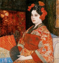 no japán kimonóban (woman in japanese kimono) by pál jávor