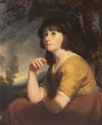 portrait of a girl, said to be lady bathurst by john opie