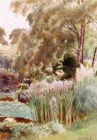 a corner of the upper lake, sandringham (+ part of the rock garden by the upper lake, sandringham; pair) by cyril ward