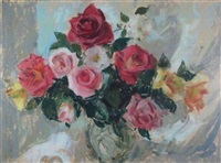 a still life of pink and yellow roses by lena alexander