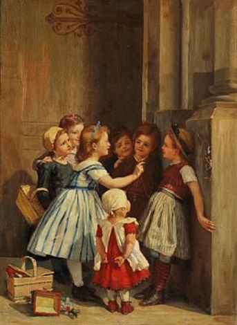 little girls playing by timoléon marie lobrichon